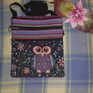 New embroidered owl tote bag